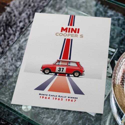 Mini Cooper S - Car Poster - Art Print - Rear View Prints