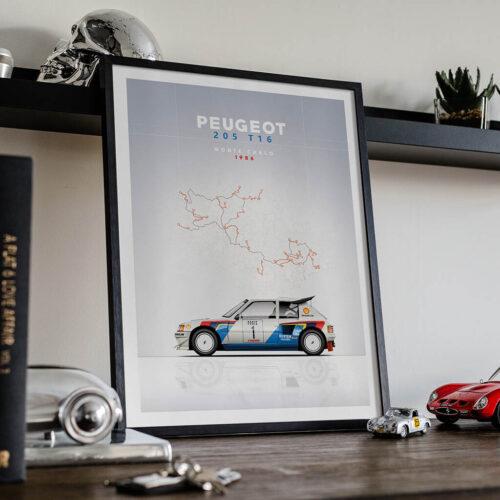Peugeot 205 T16 • Car Poster • Art Print • Rear View Prints