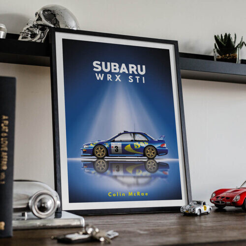 Subaru WRX STI • Car Poster Art Print • Rear View Prints