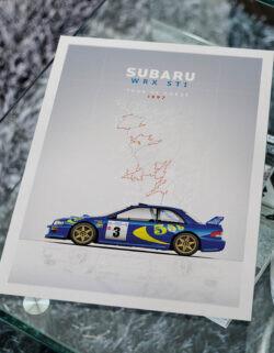Subaru WRX STI - Car Poster - Art Print - Rear View Prints