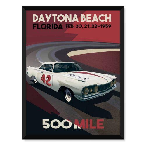 Daytona Beach 1959 • Car Art Poster • Rear View Prints