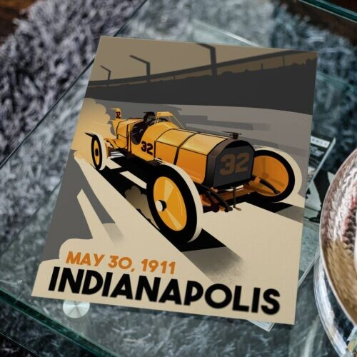 Brickyard 1911 • Indianapolis 500 • Car Art Poster • Rear View Prints