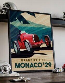 Premier Grand Prix De Monaco 1929 • Car Art Poster • Rear View Prints